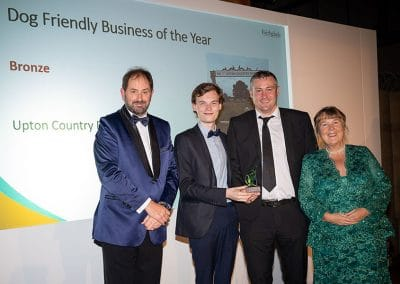 Cllr Lewis Allison and Adam Butcher accept our Dog Friendly Business of the Year award