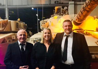 (L-R) Pete Abbott, Emma Coveney and Adam Butcher at the Tank Museum